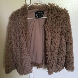 Furry/Shaggy Warm Brown Color Jacket Small/XS